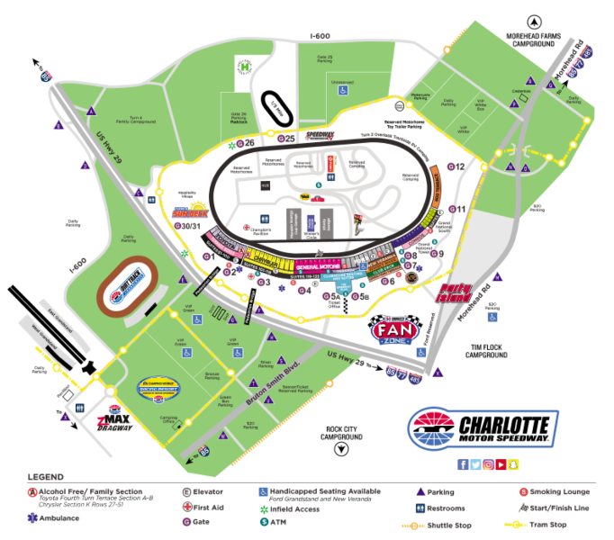 Facility maps charlotte motor speedway