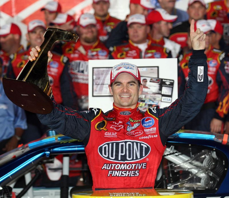 Jeff Gordon celebrates his 2007 Bank of America 500 win.