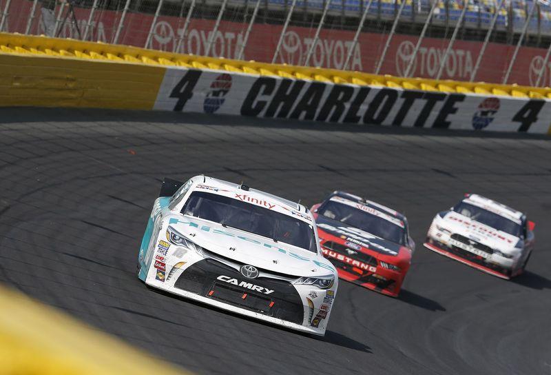 Denny Hamlin captured Saturday's Hisense 4K TV 300, his first NASCAR XFINITY Series  victory at Charlotte Motor Speedway.