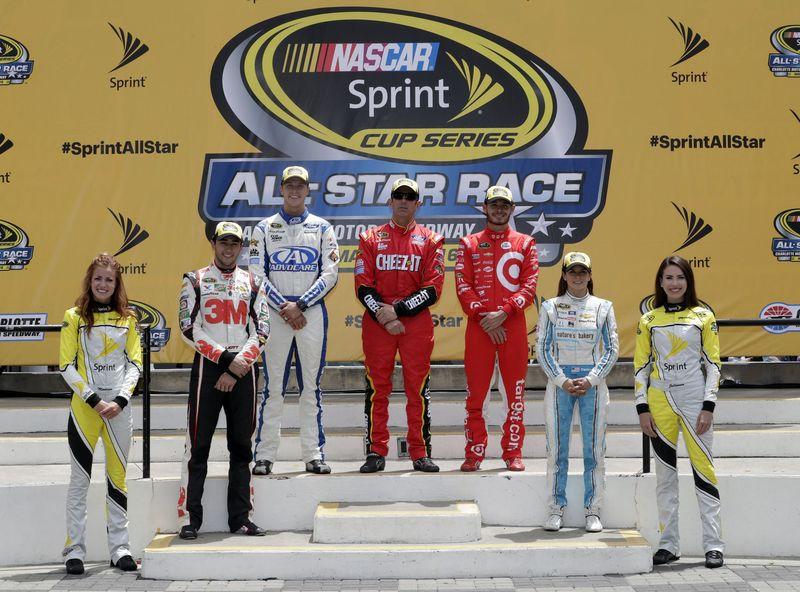 Trevor Bayne (back left), Greg Biffle (back center) and Kyle Larson (back right) advanced to the NASCAR Sprint All-Star Race from the Sprint Showdown. Chase Elliott (middle left) and Danica Patrick (middle right) advanced after winning the Sprint Fan Vote.