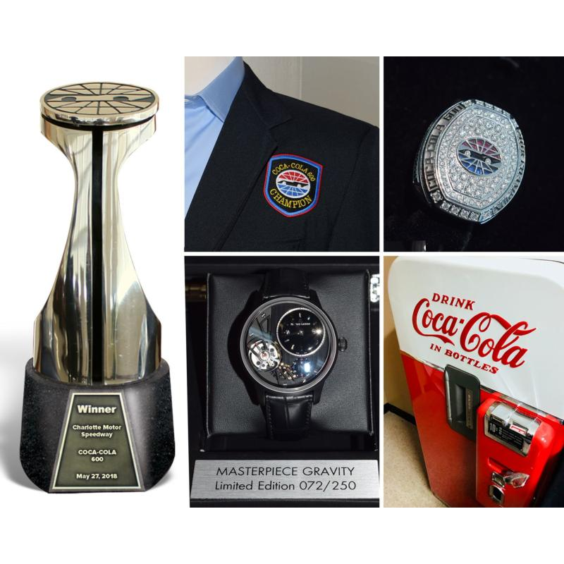 The winner of Sunday's Coca-Cola 600 at Charlotte Motor Speedway will receive the iconic Bruton Smith Trophy, a 14-carat Jostens diamond ring, a William Wilson-designed winner's sport coat, a limited-edition Maurice Lacroix Masterpiece Gravity wristwatch and an authentic, vintage Coca-Cola vending machine.