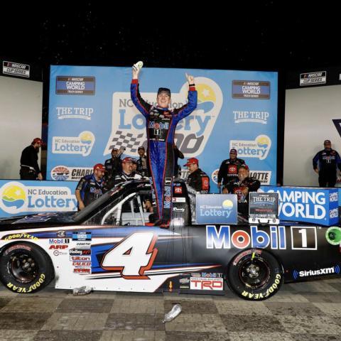 John Hunter Nemechek celebrates after winning Friday's North Carolina Education Lottery 200.