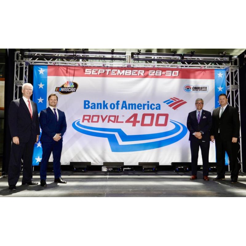 From left: Charles Bowman, Bank of America's market president for Charlotte and North Carolina, joins Marcus Smith, president and CEO of Speedway Motorsports, Charlotte Motor Speedway Executive Vice President Greg Walter and NASCAR Executive Vice President and Chief Racing Development Officer Steve O'Donnell at a press event unveiling the Bank of America ROVAL™ 400 logo on Monday in uptown Charlotte, North Carolina.