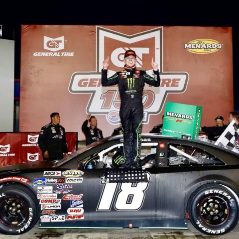 Ty Gibbs celebrates after winning Saturday's ARCA Menards Series General Tire 150 at Charlotte Motor Speedway.