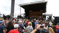 Fans gather for a Q&A with Danica Patrick during the Coca-Cola 600 pre-race pit party at Charlotte Motor Speedway.