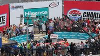 Ryan Blaney celebrates his XFINITY Series win during Saturday's Hisense 4K TV 300 at Charlotte Motor Speedway.