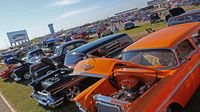 Candy-colored hot rods fill the infield during opening day of the 22nd annual Goodguys Southeastern Nationals at Charlotte Motor Speedway.