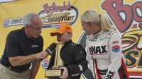 Beginner Bandit Josh Speas talked to Speedway TV's Lenny Batycki in Victory Lane during Round 6 of the Bojangles' Summer Shootout at Charlotte Motor Speedway.