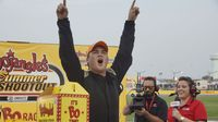 Sheldon Crouse celebrates his Semi-Pro win during Round 6 of the Bojangles' Summer Shootout at Charlotte Motor Speedway.