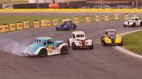 Austin Langenstein spins during Round 6 of the Bojangles' Summer Shootout at Charlotte Motor Speedway.