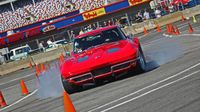 A bright red Corvette had bright red brakes during the opening AutoCross session during opening day of the 22nd annual Goodguys Southeastern Nationals at Charlotte Motor Speedway.