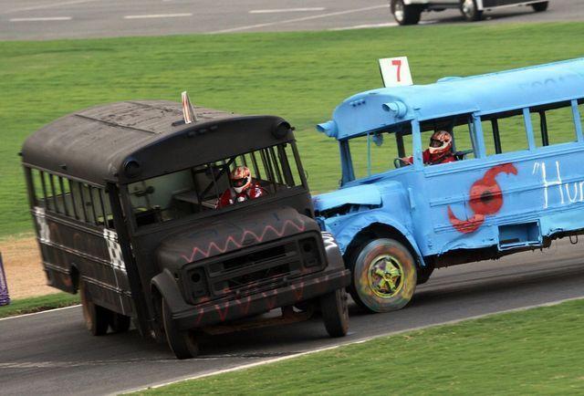 Local media will go head-to-head in a school bus slobberknocker at Charlotte Motor Speedway Tuesday night.